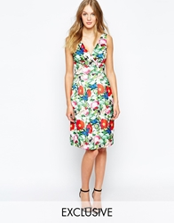 Wolf And Whistle Midi Prom Dress In Botanical Floral Print Multi
