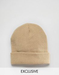 Reclaimed Vintage Oversized Beanie In Sand Beige