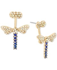 Betsey Johnson Gold Tone Blue And Clear Pave Dragonfly Front And Back Earrings