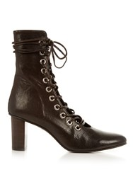 Marques Almeida Lace Up Leather Ankle Boots Dark Brown