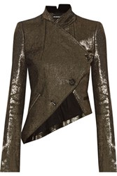 Ann Demeulemeester Asymmetric Metallic Linen Blend Jacket Gold
