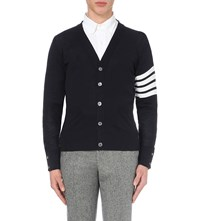 Thom Browne Striped Wool Cardigan Navy