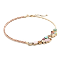J.Crew Crystal Foliage Braided Leather Necklace Dried Tobacco