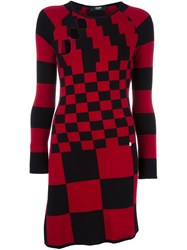 Versus Multi Checked Dress Red