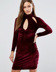 New Look High Neck Velvet Bodycon Dress Port Red