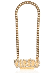 Versus Chain And Rhinestone Logo Necklace Gold