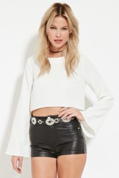 Forever 21 Bell Sleeve Crop Top Ivory