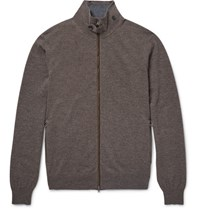 Hackett Mayfair Suede Trimmed Wool And Cashmere Blend Zip Up Cardigan Mushroom