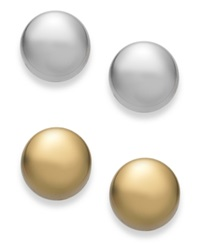 Studio Silver 18K Gold Over Sterling Silver And Sterling Silver Circle Stud Earring Set