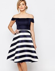 Oasis Satin Stripe Bardot Dress Navyivory