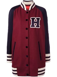 Hilfiger Collection Oversized Varsity Bomber Jacket Red