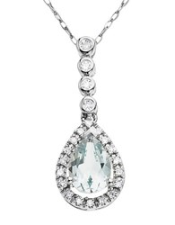 Lord And Taylor 14 Kt. White Gold Aqua Diamond Pendant Necklace Aqua White Gold