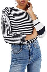 Topshop Women's Mixed Stripe Long Sleeve Tee