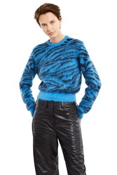 Toga Archives Mohair Tiger Stripe Sweater Blue Tiger