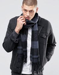 Asos Woven Scarf In Black And Grey Check Black