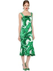 Dolce And Gabbana Leaves Stretch Silk Charmeuse Dress