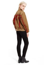 G.V.G.V. Ma 1 Velvet Lace Up Bomber Jacket Beige