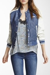 Members Only Washed Faux Leather Varsity Jacket Blue