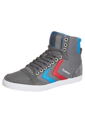 Hummel Slimmer Hightop Trainers Rock Red Blue Grey