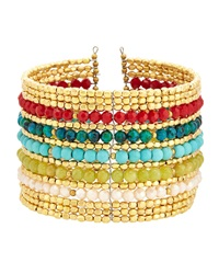 Nakamol Crystal Beaded Wire Cuff Bracelet Turquoise Multi