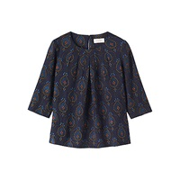 Toast Block Print Top Navy