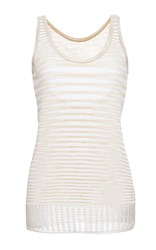 Missoni Metallic Stripe Scoop Neck Tank White Gold