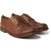 Officine Creative Woven Leather Derby Shoes Tan