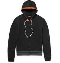 Raf Simons Loopback Cotton Blend Jersey Zip Up Hoodie Black