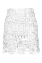 Topshop Cutwork Flower Lace A Line Skirt White