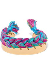 Aurelie Bidermann Copacabana Gold Plated Braided Cotton Bracelet Pink