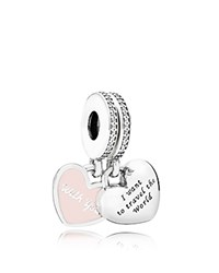 Pandora Design Pandora Dangle Charm Sterling Silver Cubic Zirconia And Enamel Travel Together Forever Moments Collection Pink