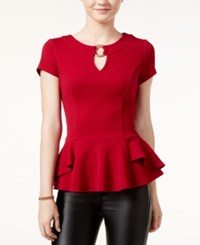 Amy Byer Bcx Juniors' Keyhole Peplum Top Wine