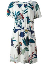 Tory Burch Floral Print Short Sleeved Dress Nude And Neutrals