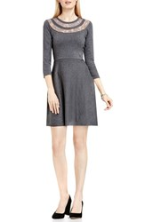 Vince Camuto Women's Lace Inset Fit And Flare Sweater Dress