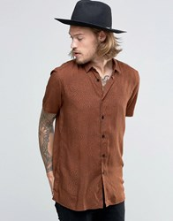 Asos Viscose Shirt In Brown With Ditsy Swirl Print In Regular Fit Brown
