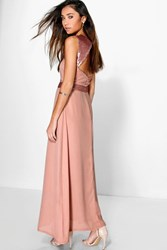 Boohoo Sequin Embellished Open Back Maxi Dress Blush