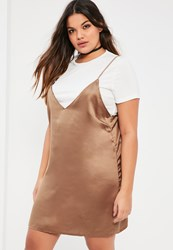 Missguided Plus Size Gold Satin 2 In 1 Dress