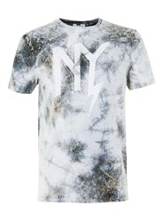 Topman Grey Nyc Print Tie Dye T Shirt Black
