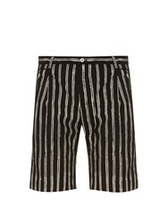 Dolce And Gabbana Striped Cotton Shorts Black Multi