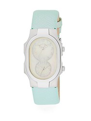 Philip Stein Teslar Classic Stainless Steel And Leather Band Dual Time Watch Seafoam