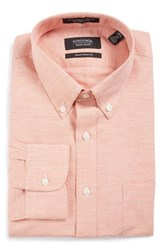 Nordstrom Men's Big And Tall Men's Shop Traditional Fit Houndstooth Linen And Cotton Dress Shirt Orange Glow