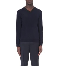 Sandro V Neck Wool Jumper Navy Blue