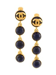 Chanel Vintage Cc Logo Dangle Clip On Earrings Black