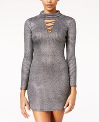 Material Girl Juniors' Metallic Lattice Trim Bodycon Dress Only At Macy's Silver Combo