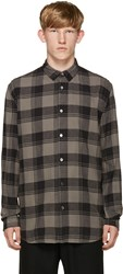 Robert Geller Grey Plaid Dress Shirt