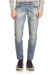 Eleventy Main Hand Paint Splattered Jeans Denim