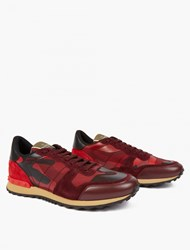 Valentino Red Camouflage Leather Running Sneakers