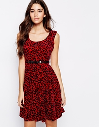 Pussycat London Belted Dress In Flocked Leopard Red