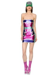 Dsquared Strapless Patchwork Nappa Leather Dress