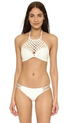 Mikoh Lanikai High Neck Halter Top Bone